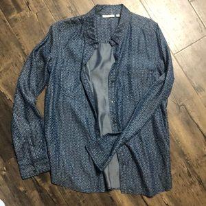 NWT Halogen Chambray Shirt Dotted Print